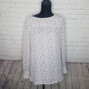 LOFT Long Sleeve Cream Floral Print Blouse Top XL